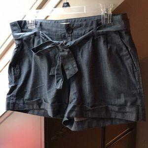 Loft chambray tie waist shorts